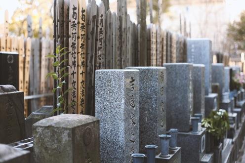 Magnifiques cimetières dans les sanctuaires du quartier d'Asakusa